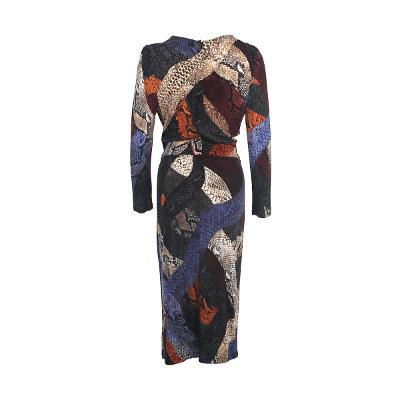 colorful python pattern wrap dress
